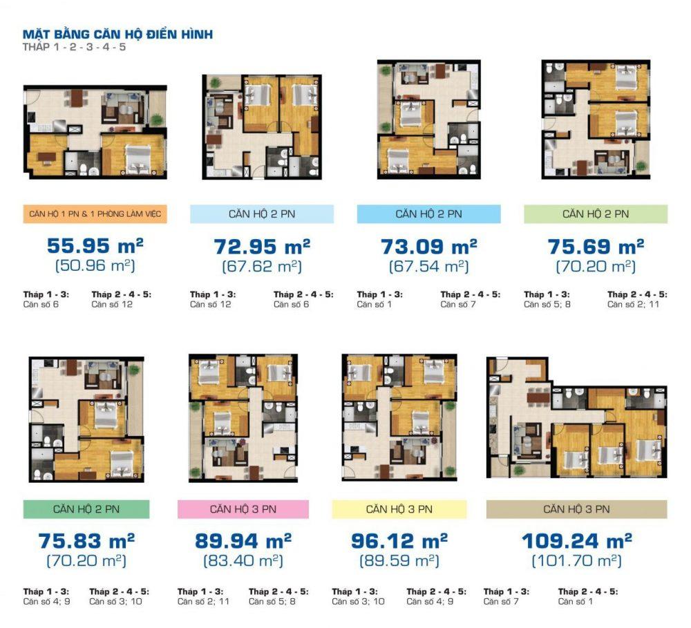 mặt bằng căn hộ the sun avenue tháp 1, 2, 3, 4, 5